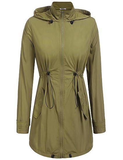 521e48e6196 Amazon.com: ANGVNS Women's Lightweight Waterproof Raincoat Hoodie Rain  Jacket Outdoor Anorak Windbreaker: Clothing