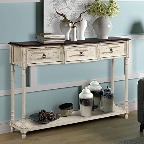 Console Table Sofa Table Sideboard Table with 3 Drawers Luxurious and Exquisite Design for Entryway with Projecting Drawers and Long Shelf Distressed Beige