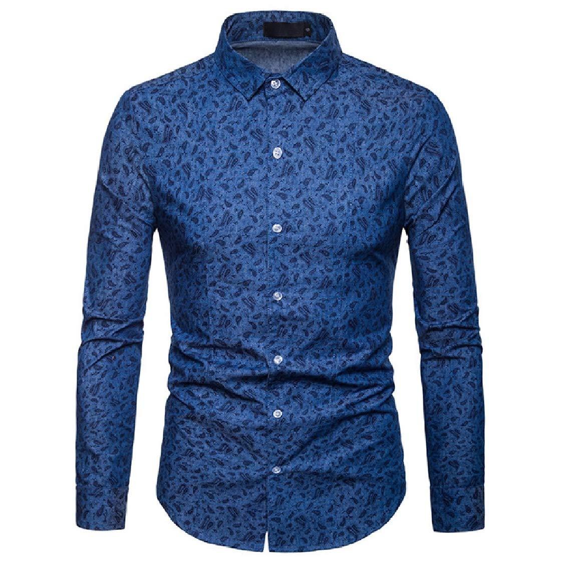 YUNY Mens Floral Long-Sleeve Plus-Size Trim-Fit Casual Autumn Western Shirt Dark Blue L
