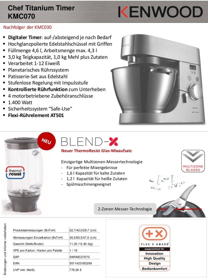 Kenwood Robot de cocina Top Paquete de chef Titanium temporizador kmc070 con jarra adicional 36385b + Picadora de at340: Amazon.es: Hogar