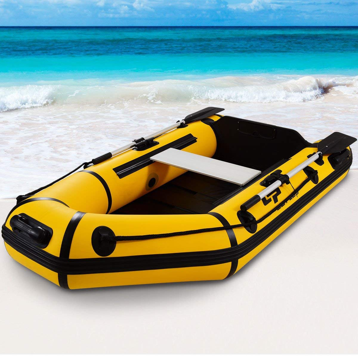 Goplus 2 or 4-Person Inflatable Dinghy Boat Fishing Tender Raft Deep Bottom and Trolling Motor Transom