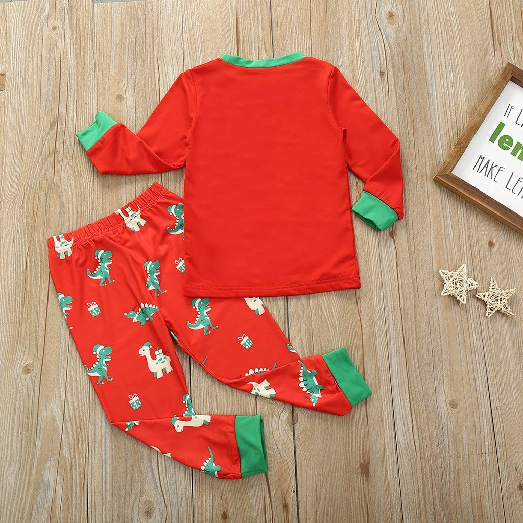 TM Kids Cute Cartoon Pajamas Sets,Colorful for 1-8 Years Old Infant Child Girls Boys Cartoon Dinosaur Print Long Sleeve Tops Pants Sleepwear Nightgown Outfits