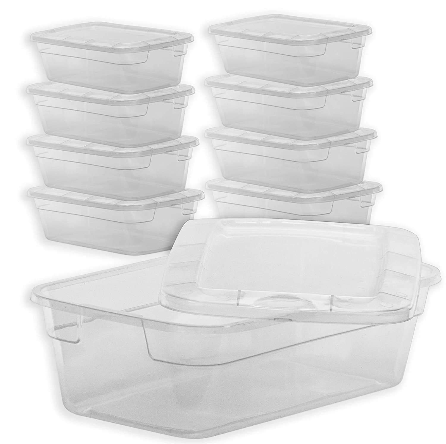 DecorRack 4 Clear Plastic Storage Containers with Lids, 6 Quart Bin, Small Compact Stackable Storage Box, Perfect Underbed Toy Storage or Cat Dog Food Container, BPA- Free Plastic Clear Lid (4 Pack)