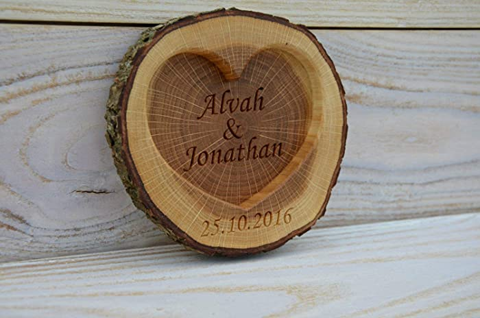 b1153ed804 Amazon.com: Personalized Rustic Wood Ring Holder - Rustic Wedding Ring  Bearer Pillow - Oak Tree Ring Box: Handmade