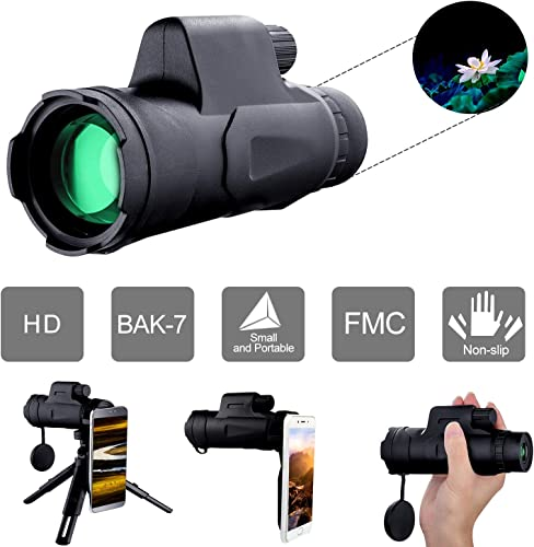 Monocular Telescope for Kids Adults, with Phone Adapter Tripod, 10X40 High Power HD BAK7 Prism Monocular for Bird Watching Hunting Camping Travelling Wildlife Hiking Match