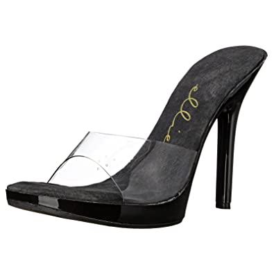9a0a9e2ae7fd46 Summitfashions Mini Platform Black Slide 5 Inch Heel Clear Mule Women s  Sexy Shoes Clear Strap Size
