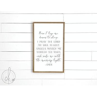 Judy554Bart Kids Room Wall Decor | Now I Lay me Down to Sleep Sign | Nursery Wood Signs | Kids Room Sign | Wooden Sign for Nursery | Nursery Wall Decor: Home & Kitchen