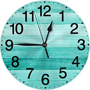 Teal Turquoise Green Wood Wall Clock Silent Non Ticking Battery Operated 10 Inch Clocks Living Room Decor Quartz
