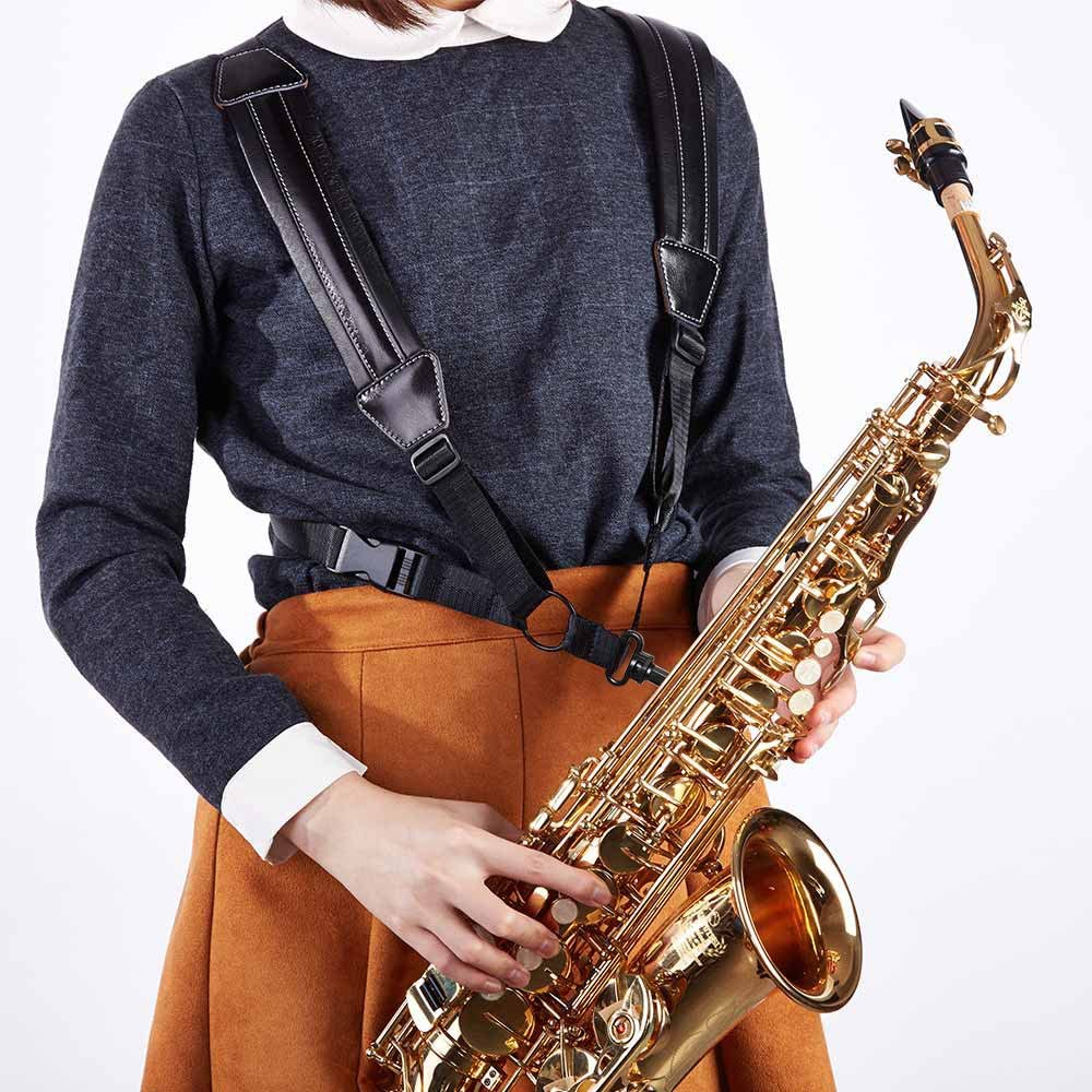 Rayzm Arnés para saxofón de piel auténtica, Correa de Arnés ...