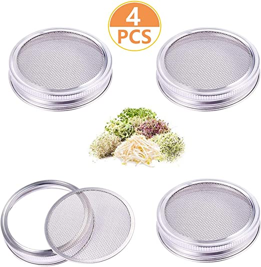 2 pack Stainless Steel Sprouting Lids Jar Strainer Lid for Wide Mouth Mason Jars