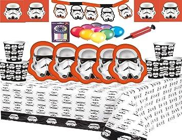 Fiesta de Star Wars Stormtrooper Vajilla Fiesta de cumpleaños para niños Suministros Tazas Platos Mantas de mesa Banners para 16 invitados Globos ...