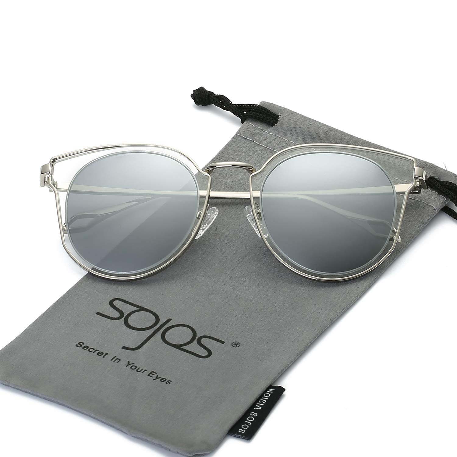 90f04f6db6 SOJOS Fashion Polarized Sunglasses for Women UV400 Mirrored Lens SJ1057  with Silver Frame Crystal Silver Mirrored