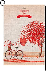 BLKWHT Happy Valentine's Day Garden Flag Vertical Double Sided Red Love Heart Bicycle Yard Outdoor Decorative 12.5 x 18 Inch