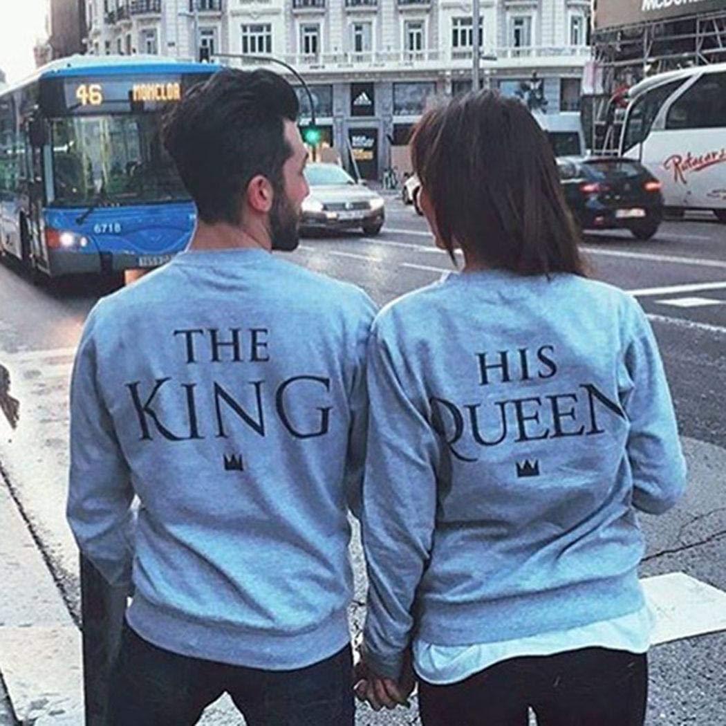 Kisshes Maglioni per Coppie Felpe Casual King And Queen per Donna e Uomo Maglioni con Stampa per Coppia di Amanti del Partner