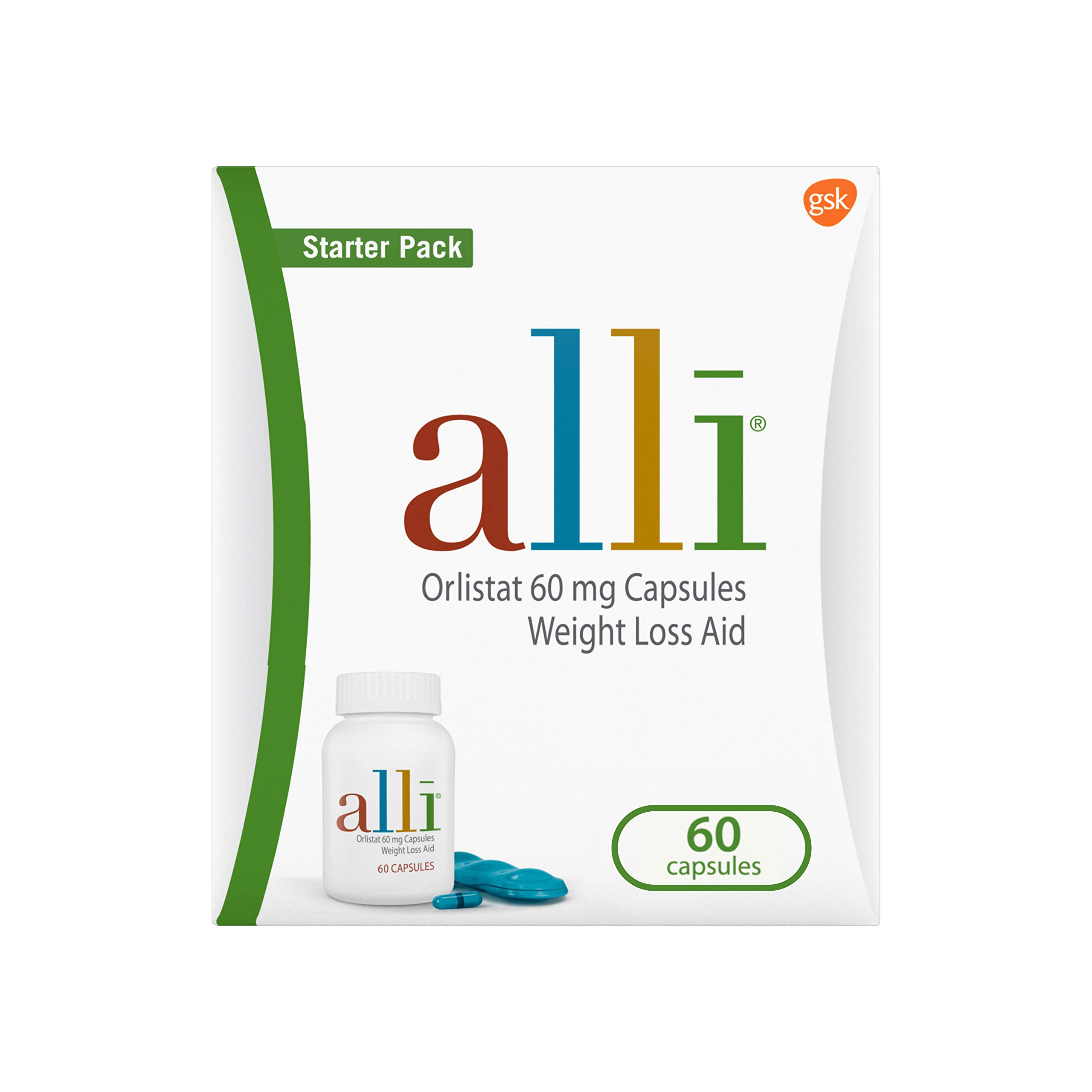 alli Diet Weight Loss Supplement Pills, Orlistat 60mg Capsules Starter Pack, Non prescription weight loss aid, 60 count