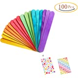Colored Craft Stick Natural Jumbo Wood Popsicle Sticks For Diy Crafts Creative Designs 100 PCS 6 Inches