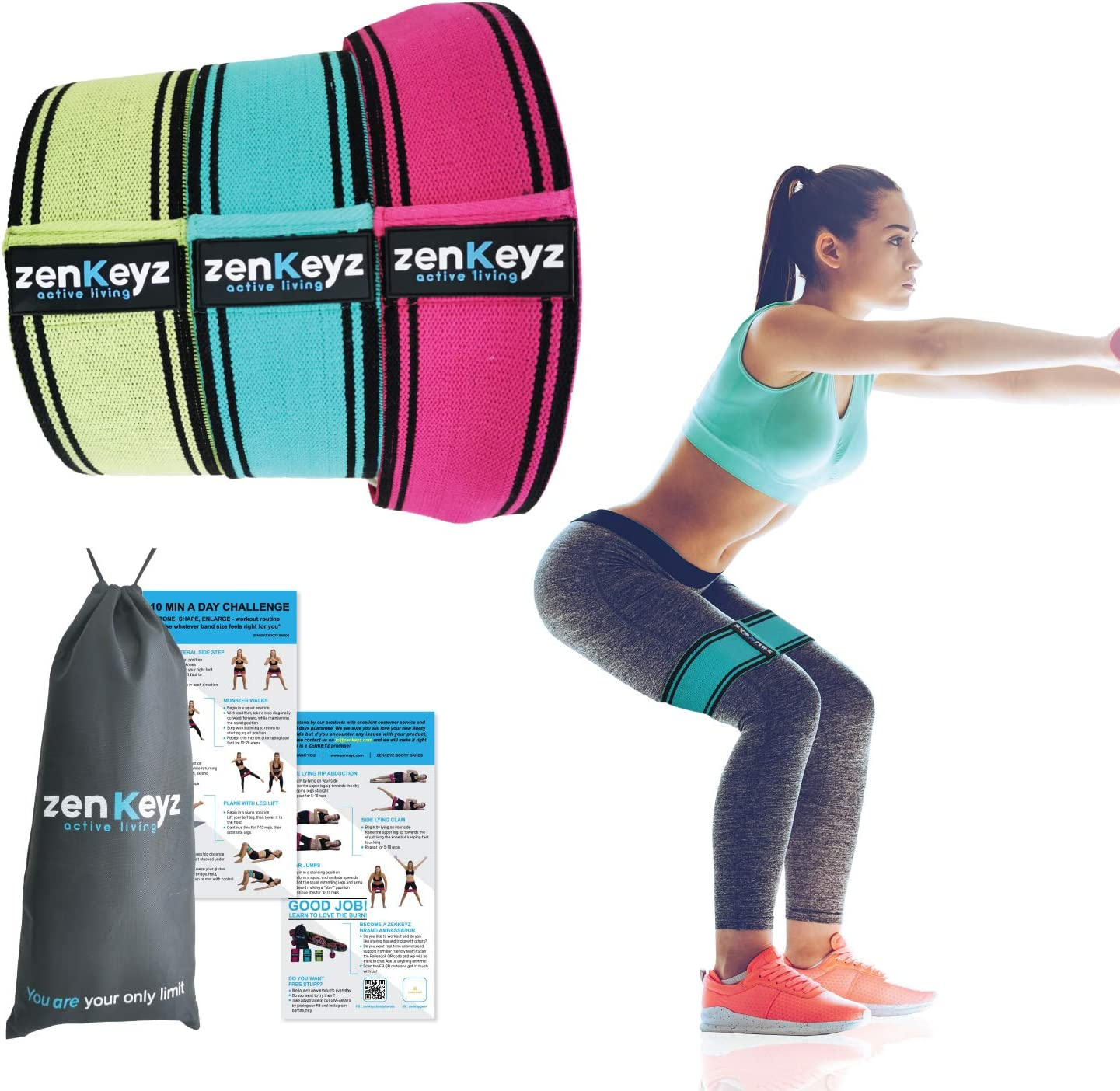ACEZENX Resistance Bands for Legs and Butt Non Slip Workout Booty Bands 3 Pack Wide Fabric Loop Thigh Exercise Roll Home Gym Glute Bands Set for Women