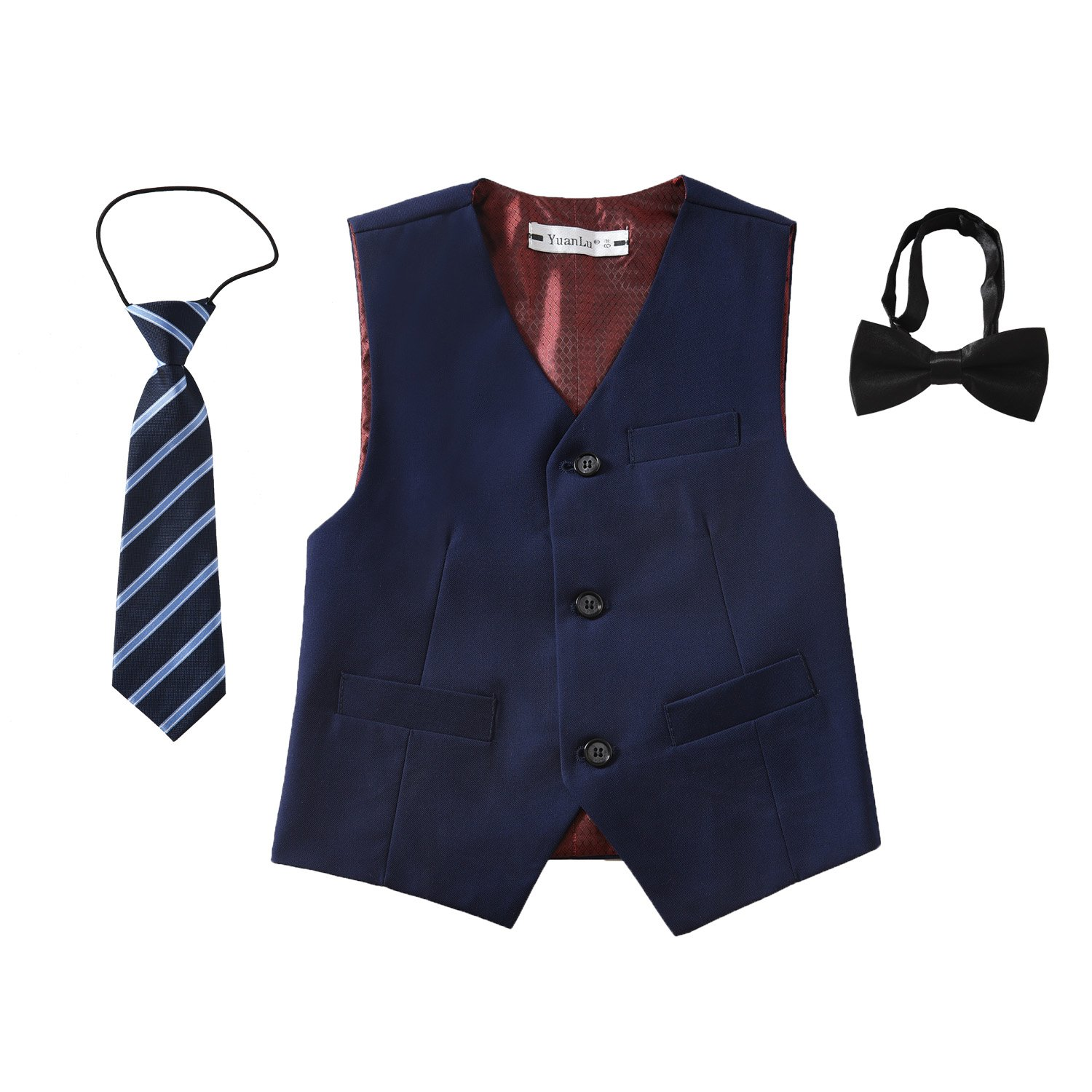 Yuanlu 3 Piece Boys' Formal Suit Vest Set with Bowtie and Tie