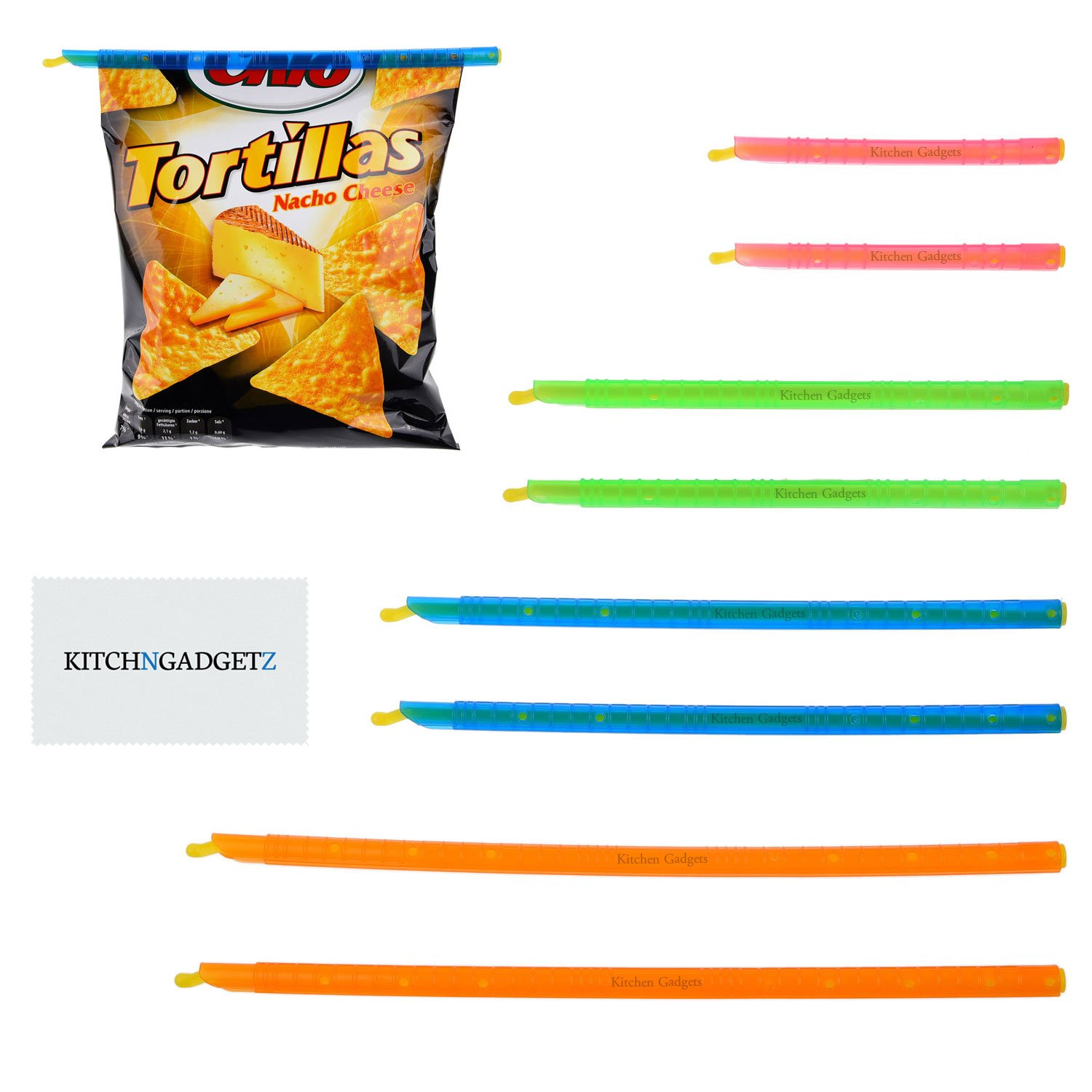 Chip Clips Plastic Bag Sealer Sticks by Kitchen Gadgets - 8 Pack, 4 sizes - Super Easy - Fold the Top of a Bag and Slide On a Bag Sealer Stick - Keeps Food Fresh - Thin, Compact, Reusable, Durable