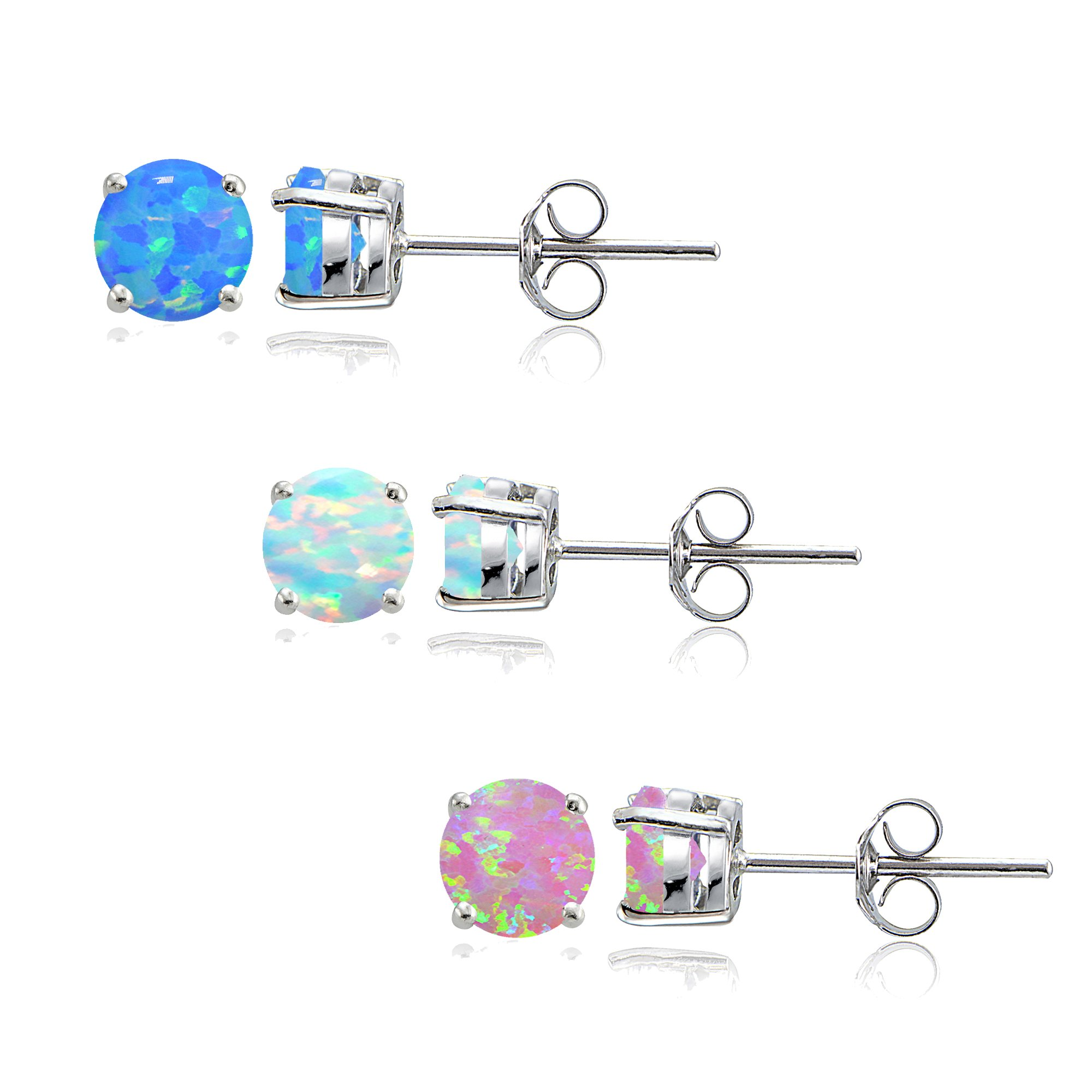 Sterling Silver Created White Pink and Blue Opal 4mm Round Stud Earrings, Set of 3 Pairs by GemStar USA