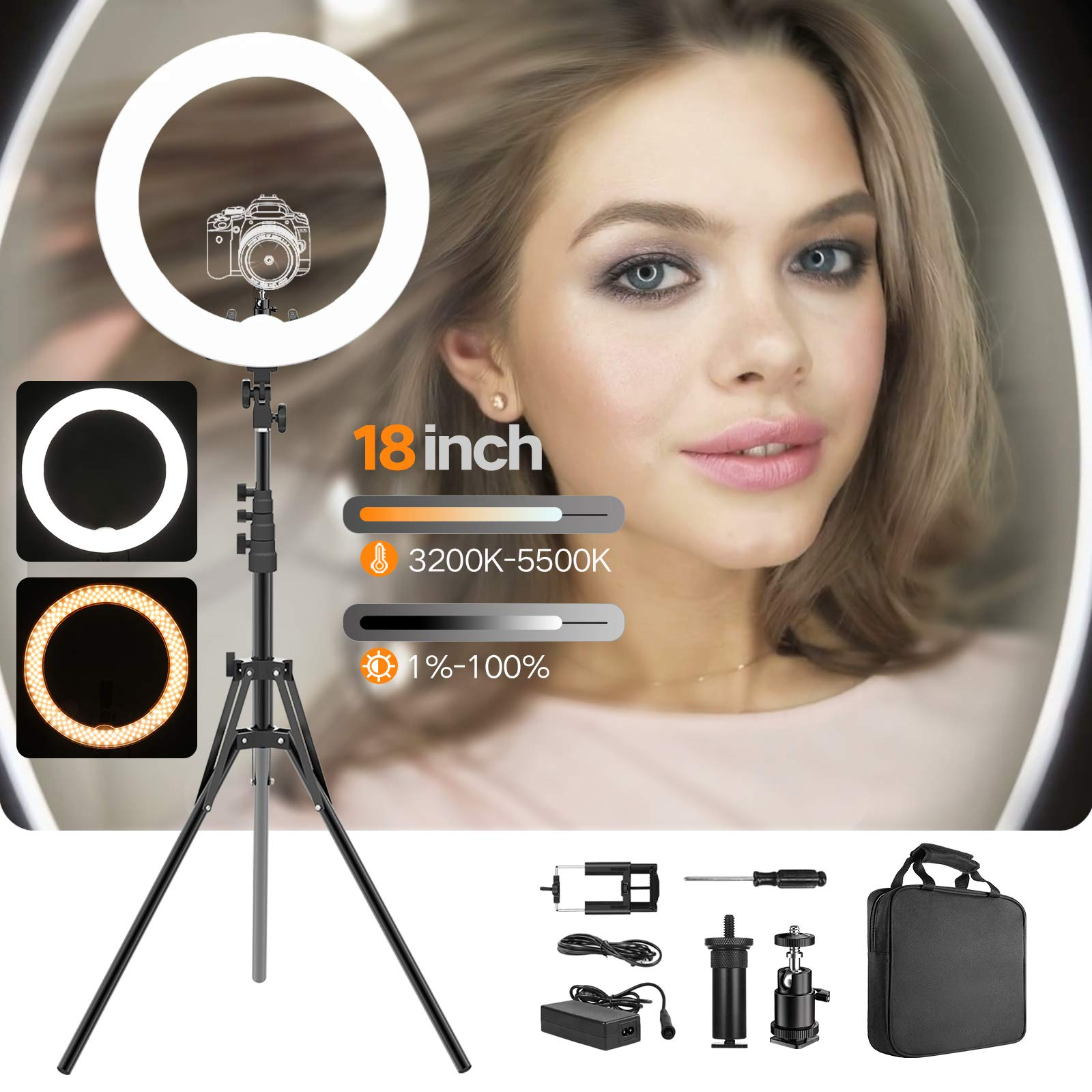 Ring Light Kit 18'' 48cm Outer 55W 5500K Dimmable Led Light Ring with Tripod Stand & Carrying Bag for Camera, Smartphone,Make-Up,YouTube,Portrait Shooting,Live Stream etc by PIXEL (Image #1)