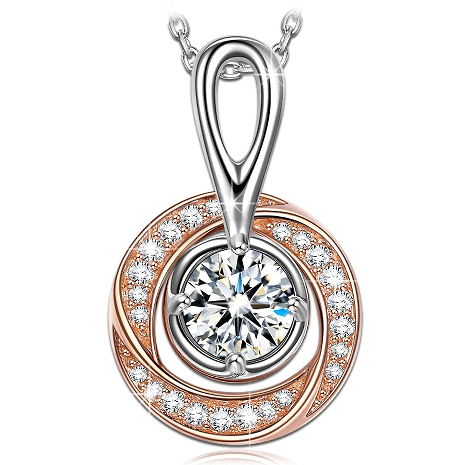 "♥Gifts for Women♥ NINASUN ""The London Eye"" 925 Sterling Silver Pendant Necklace Rose Gold Plated 3A CZ Fine Jewelry, 18"" + 2"" Extender"
