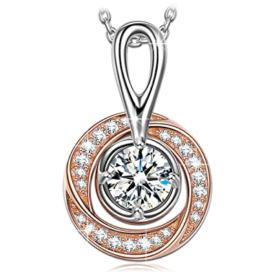 NINASUN Necklace for Women 925 Sterling Silver Pendant Circle Rose Gold  Cubic Zirconia Fine Fashion Costume 22b195773ada