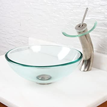 Elite Gd05sf22t Clear Tempered Glass Bathroom Vessel Sink And