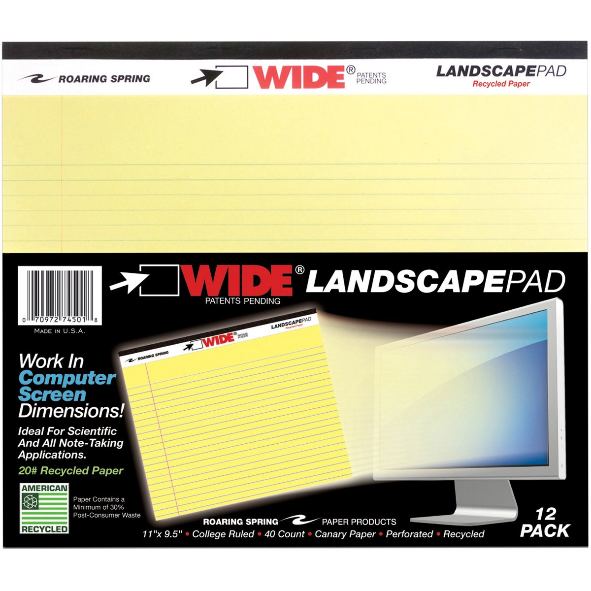 Wholesale CASE of 25 - Roaring Spring Wide Landscape Canary Writing Pads-Wide Landscape Pads, 40 Shts, 11''x9-1/2'', Canary