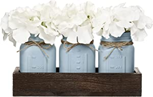 Mkono Mason Jar Centerpiece Decorative Wood Tray with 3 Painted Jars Artificial Flowers Rustic Country Farmhouse Home Decor for Herb Plants Coffee Table Dining Room Living Room Kitchen,Grey Blue