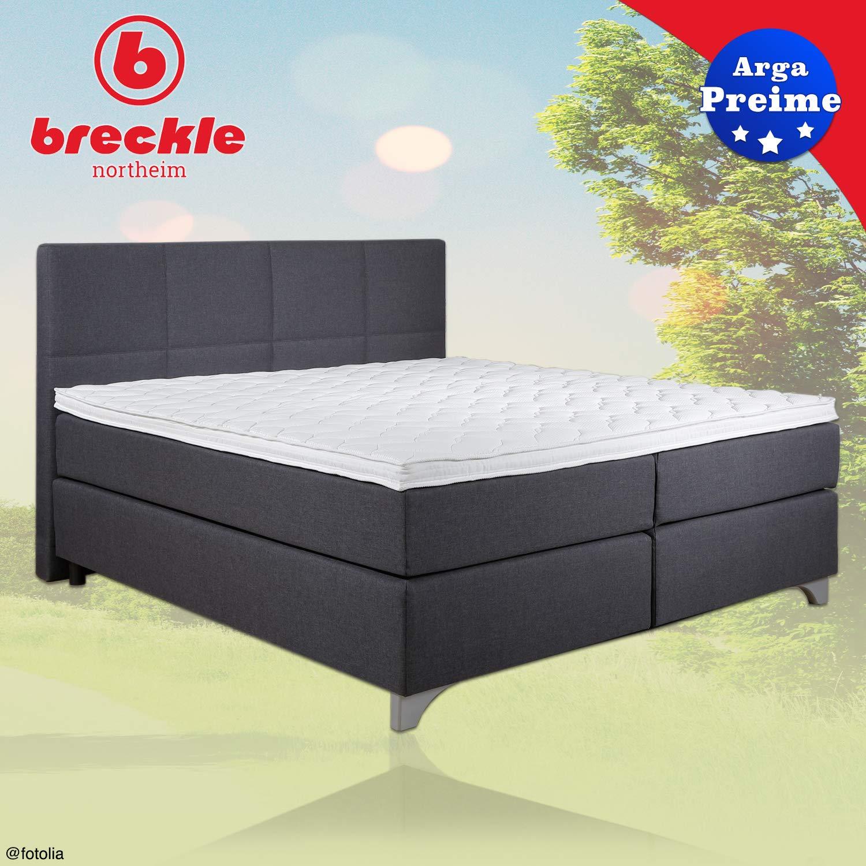 Breckle - Cama Arga preime gris - Cama con cabecero 1000er muelles ensacados en caja y colchón - Cabecera de cama con pespunte - equilibrado Descanso ...