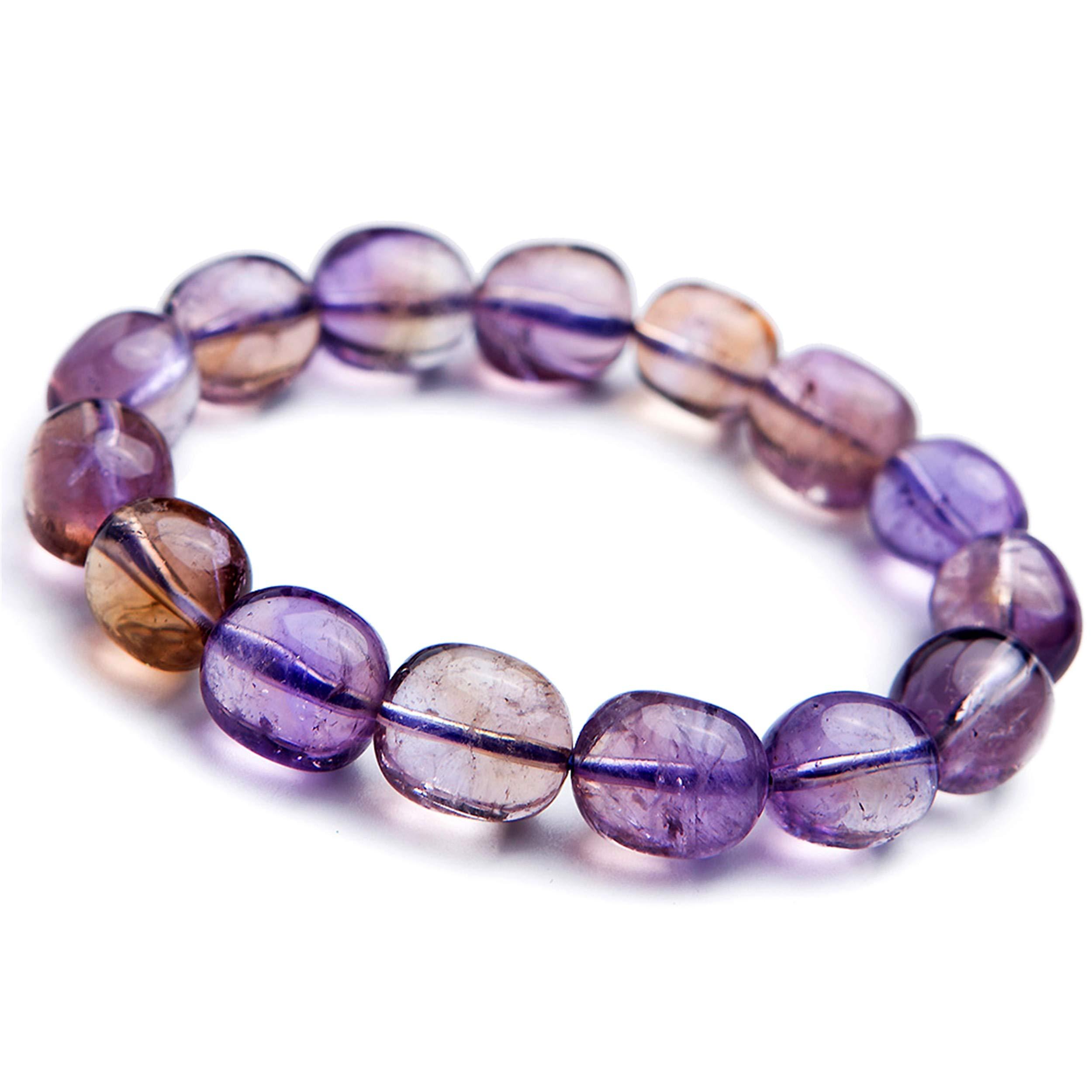 Yellow Purple Natural Ametrine Amethyst Citrine Quartz Crystal Bead Bracelet