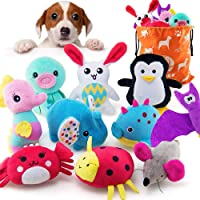 AWOOF 10 Pack Dog Toys for Small Dogs, Stuffed Animals Cute Puppy Teething Toys Plush Dog Squeaky Toys, 100% Natural…