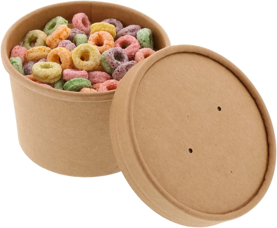 Royal 8 Ounce Kraft Paper Food Container and Lid Combo, Package of 250