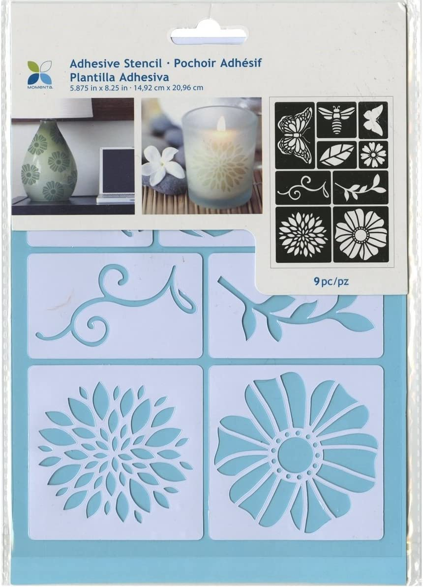 Momenta ST-252-25232 Adhesive Stencil 6 by 8 Flowers and Bugs