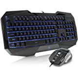 AULA Backlit Gaming Keyboard and Mouse Combo with Adjustable Backlight (SI-859 + SI-928)