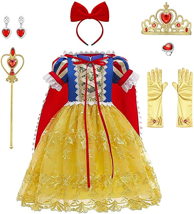OBEEII Blancanieves Disfraz con Capa Snow White Carnaval Traje de ...