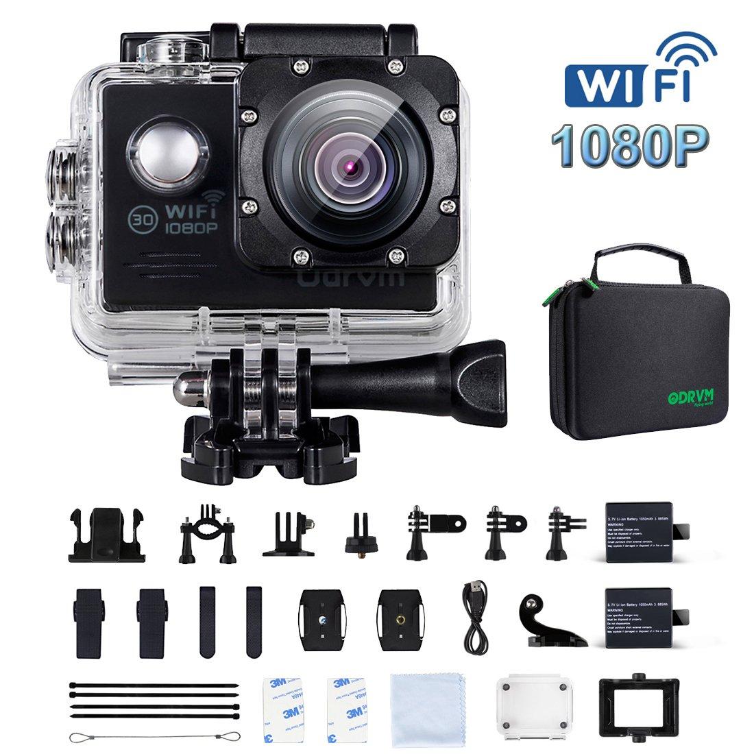 WiFi Actioncam Full HD 1080P Unterwasserkamera Digital Wasserdicht 2.0 Zoll LCD Helmkamera mit 2 Stü . Batterien, Action cam fü r Kinder, Extremsport und Outdoor-Sportaktivitä te (BLAU) ODRVM OD7200-WIFI-DE-BLUE