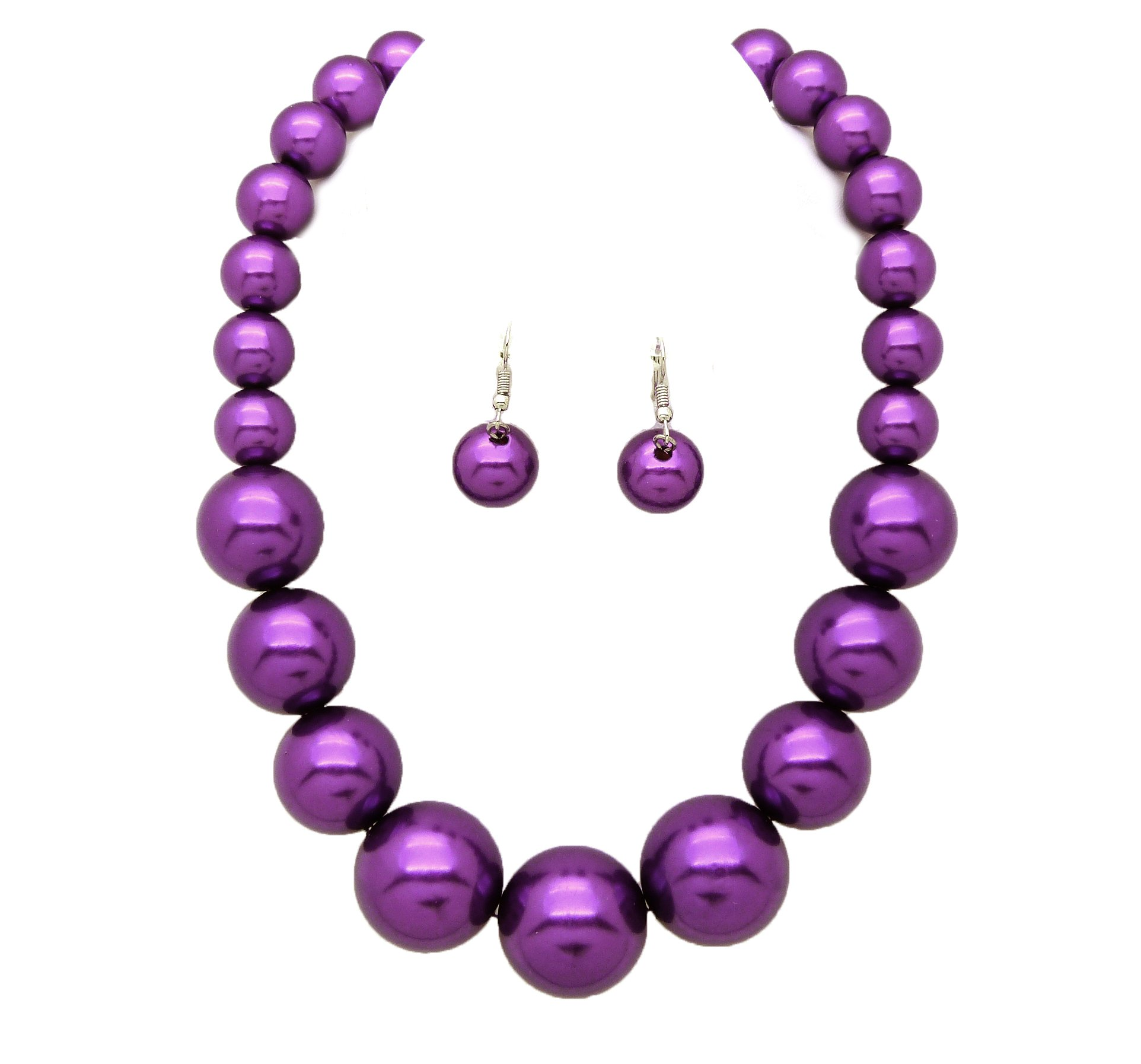 Fashion 21 Women's Large Big Simulated Pearl Statement 18'' Necklace and Earrings Set (Purple)