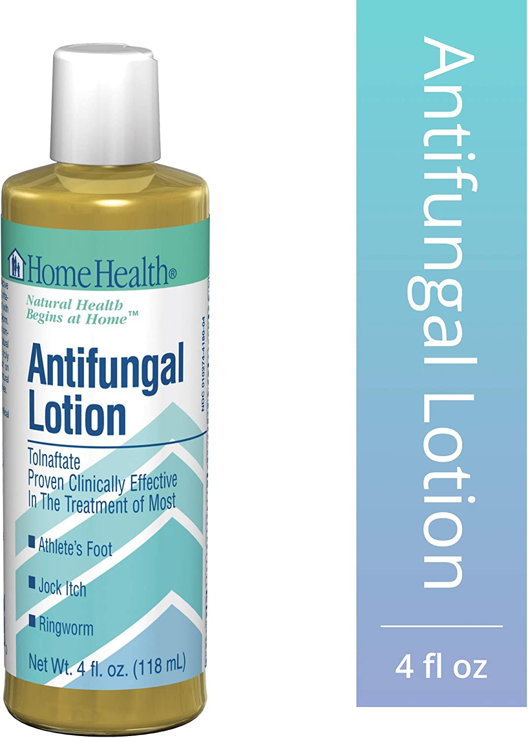 Home Health Antifungal Lotion - 1% Tolnaftate, 4 fl oz - Effective Relief from Itching, Burning & Cracking Associated with Athletes Foot, Jock Itch & Ringworm - Non-GMO, Paraben-Free, Vegetarian