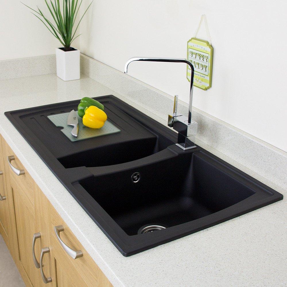 Astini Arturo 1.5 Bowl Black Composite Synthetic Kitchen Sink U0026 Waste  AS197B: Amazon.co.uk: DIY U0026 Tools