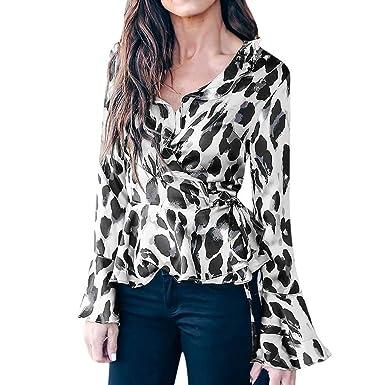 28e4463df66f0 Hemlock Women Leopard Print Shirt V-Neck Tunic Flare Sleeve Tie Blouse Tops  White