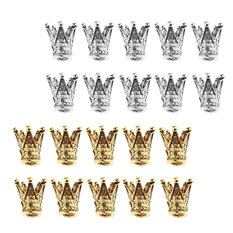 20 Pcs Gold//Silver Crown Shape Charms Loose Spacer Beads DIY Jewelry Making