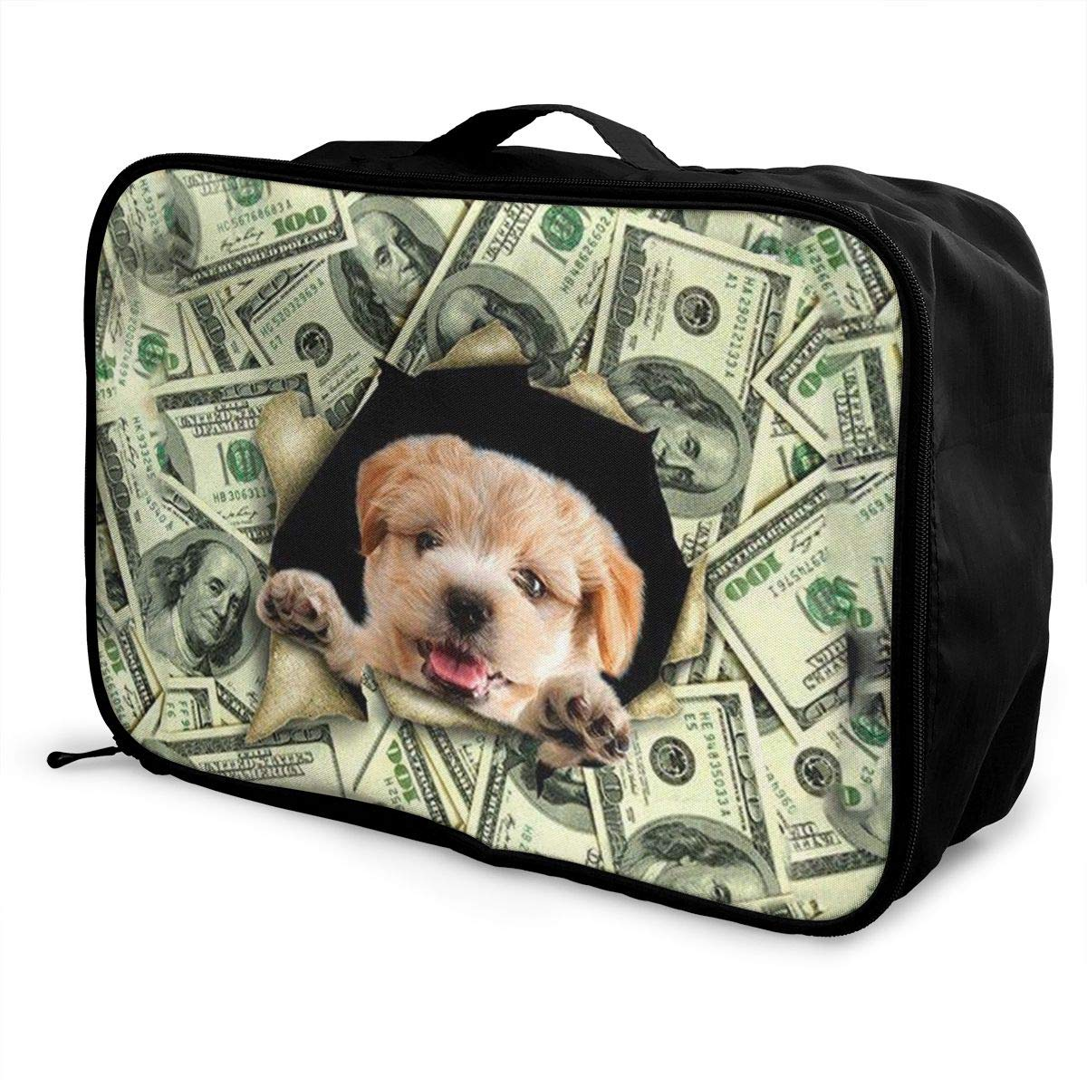 Lightweight Large Capacity Duffel Portable Luggage Bag Money Pattern Dog Travel Waterproof Foldable Storage Carry Tote Bag