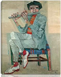 Berkin Arts Candido Portinari Stretched Giclee Print On Canvas-Famous Paintings Fine Art Poster-Reproduction Wall Decor Ready to Hang(Flutist Or)#NK