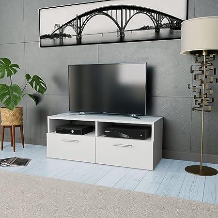 Tidyard Mesa para TV Mueble TV Salón Mesa Televisión Mueble Comedor Televisor Bajo con 2 Estantes y 2 Armarios Estilo de Moderno PVC 95x35x36cm Blanco Mate: Amazon.es ...