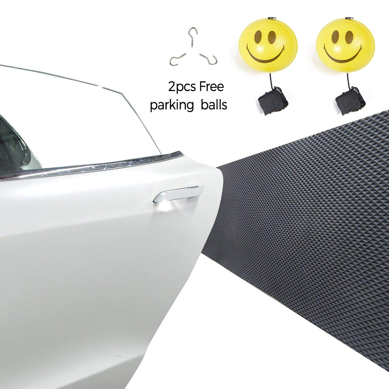 HQAP Waterproof Garage Wall Protector Car Door Protector 2 Pack 1/4 Thickness, Gift: Retracting Stop Ballg