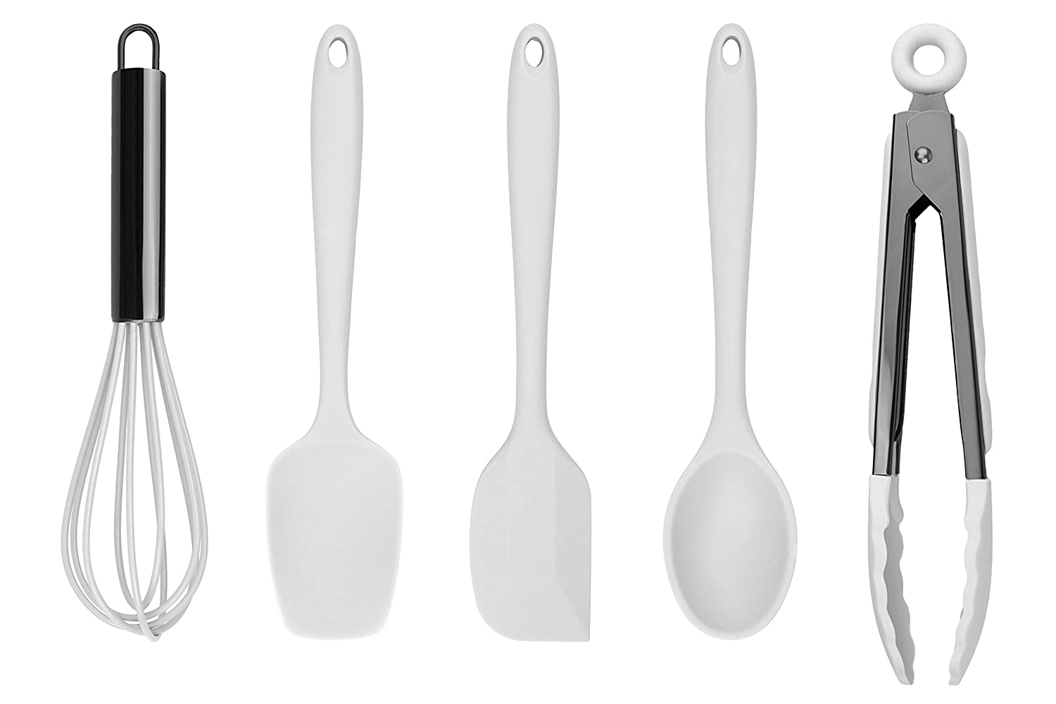 Country Kitchen Set of Five White and Gunmetal Silicone MINI Kitchen Utensil Set