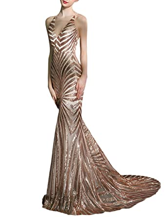 Odrobe Womens Sexy Mermaid Long Sequin Evening Party Dress Spaghetti Strap Prom Gown 2018 OAL025 Rose