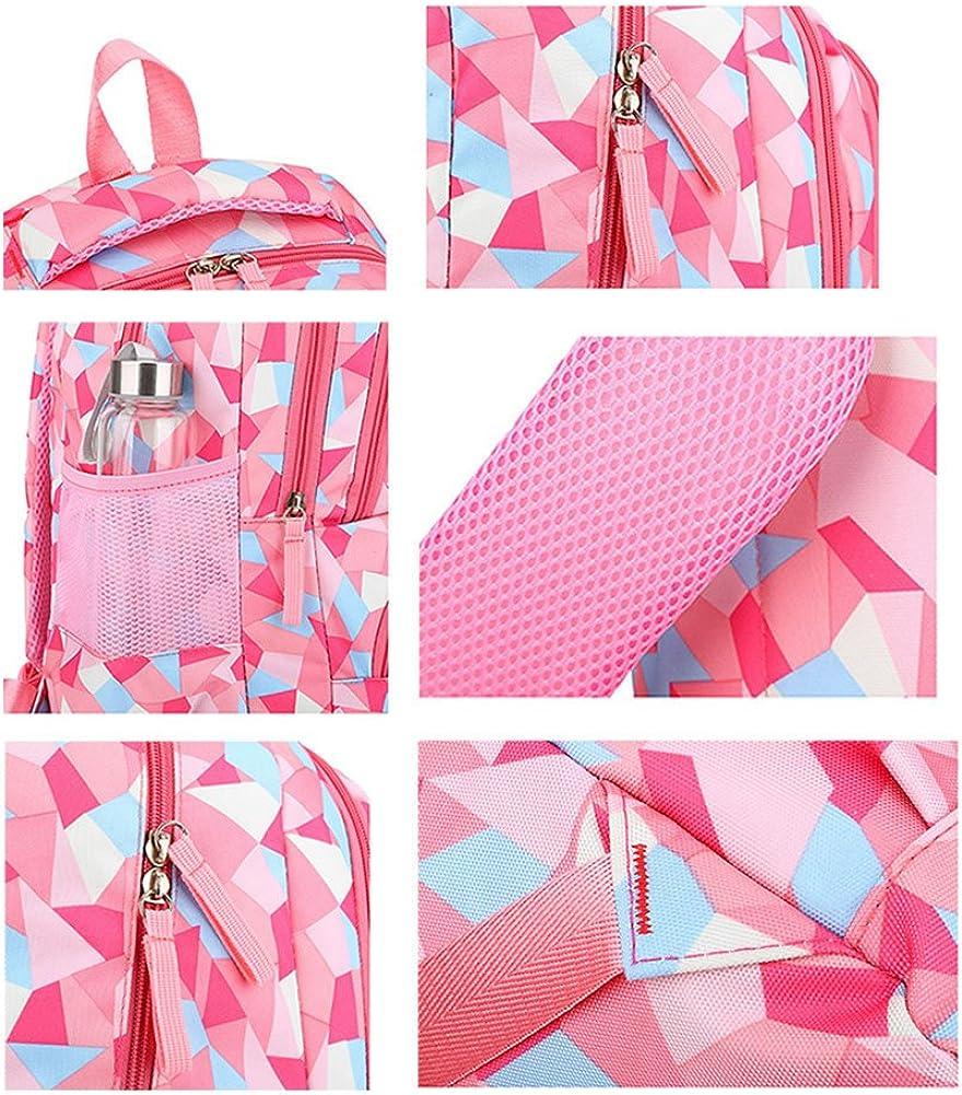 black Kids Geometric Pattern Primary School Backpacks Girls Nylon Student Bookbag